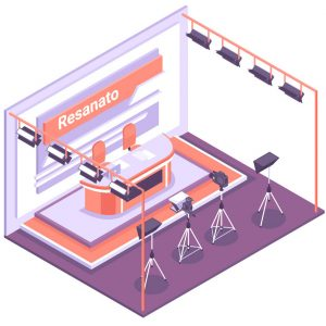 Empty tv studio with various equipment for shooting isometric concept 3d vector illustration